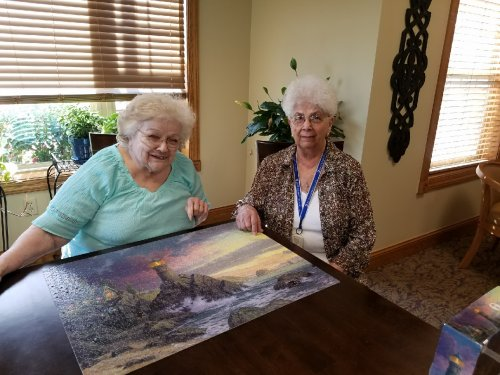 Ladell and Doris love working on puzzles together. Here they are with a puzzle they just finished.