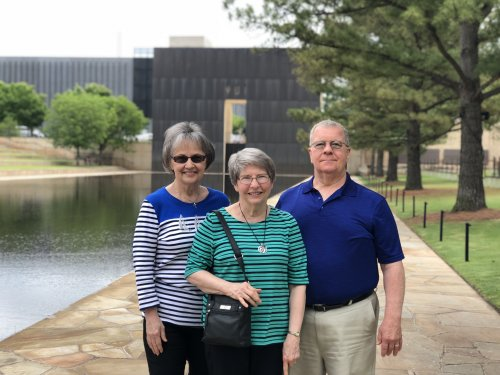 Residents Marlys, Janet, and David visiting the OKC Memorial.