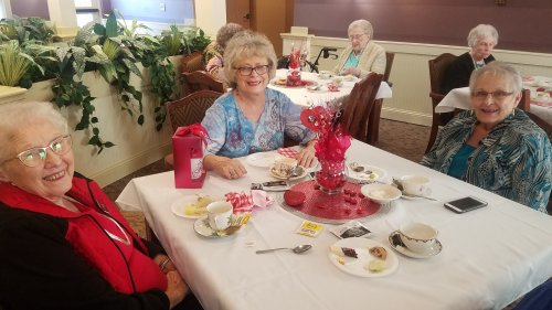 Datha, Gaylynn, and Judy enjoying the Valentines Tea.