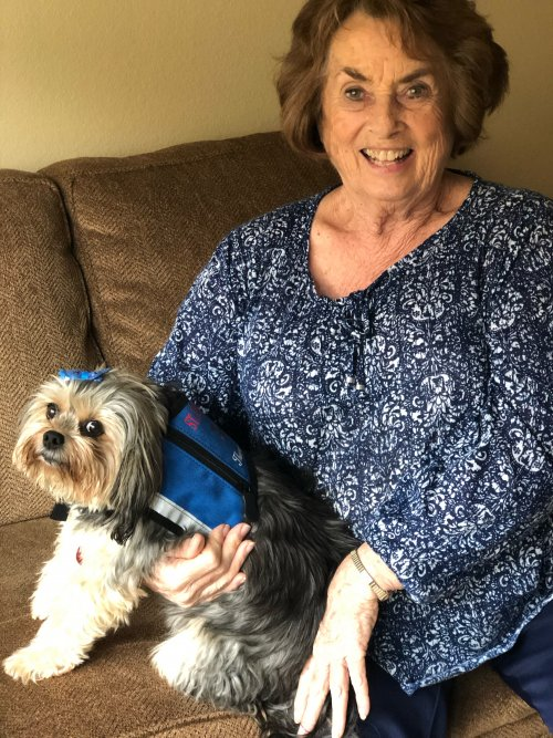 Ann and her dog, Valentine assist residents on a daily basis. Valentine is a therapy dog and brings much joy to those around him.
