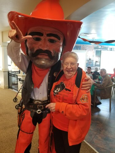 Pistol Pete and Jane wearing their orange in support of OSU!