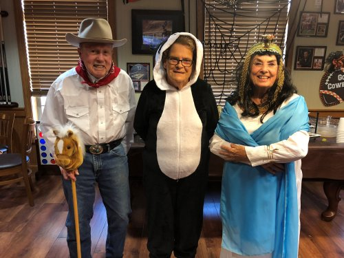 The Cowboy, Panda, and Cleopatra were the three winners of the Halloween costume contest!