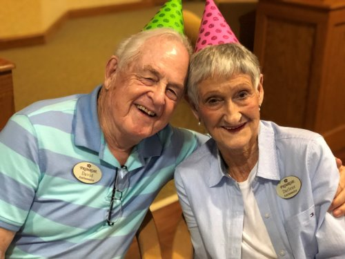 David and Darlene celebrating their birthdays at the birthday social. Not only will they celebrate 58 years of marriage in June, but every year they get to celebrate their birthdays together. Born on the same day but one year apart.