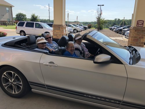 Sandy and the girls headed out in the Mustang. This is living!