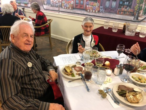 David and Darlene enjoying a 5 course meal, violinist, and a great atmosphere during our fine dining meal this month.