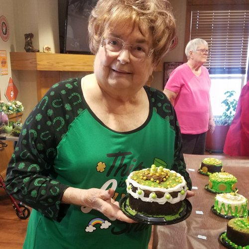 Mrs. Pat was the winner of the St. Paddy's Day cake decorating contest.