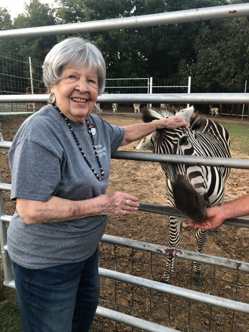 Miss Jo loving on a zebra.