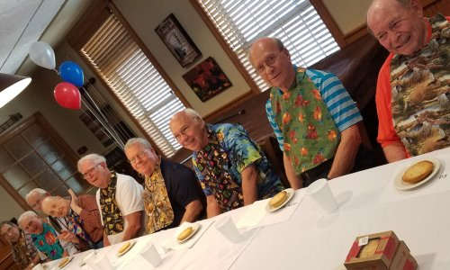 Some Primrose men competed in a pie eating contest