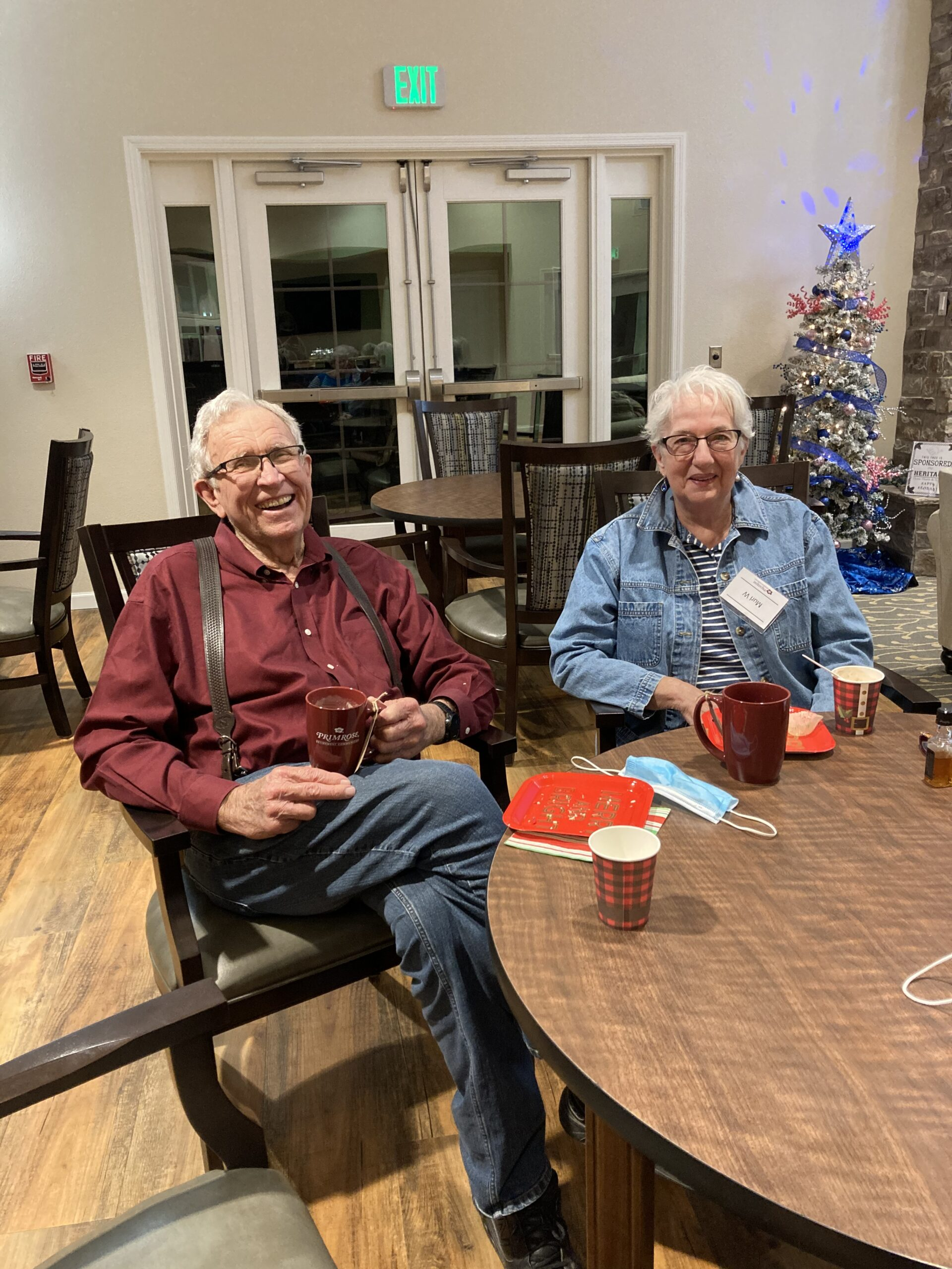 Murl and Lynn enjoying hot cocoa after a night of Christmas Lights