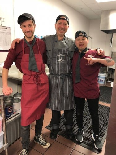 from left: Dietary Aid Hayden, Dietary Director Chef Todd, and Dietary Aid Lucky all looking sharp!