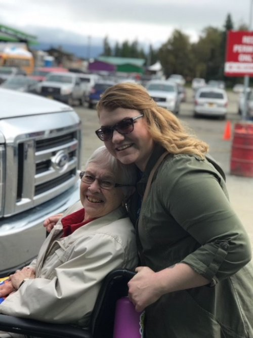 Resident Peggy and C.N.A. Jessica at the Alaska State Fair.