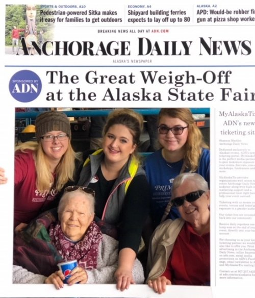 The ladies having a great time at the Alaska State Fair.
