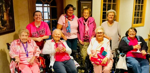 Some of the lovely Pink Ladies from Flamingo Bingo to show Support for Breast Cancer Awareness.