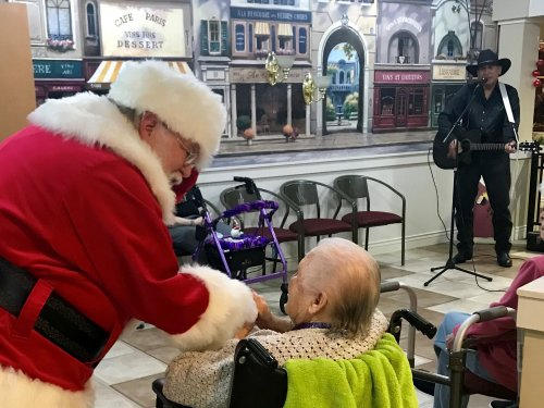 Santa came to visit our residents.