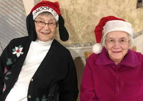 Residents and Sisters Sarah and Grace sharing the Christmas Spirit.