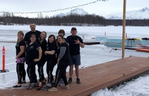 Wasilla CNAs, Sales Director, and Assistant Director of Nursing getting ready to jump into Wasilla lake. Thank you Primrose for the sponsorship all the money raised went to the Sertoma Club!