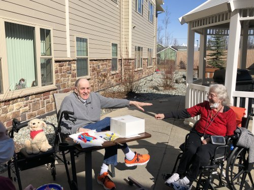Jane helped Ron celebrate his 88th birthday with a cake outside on a beautiful sunny day!