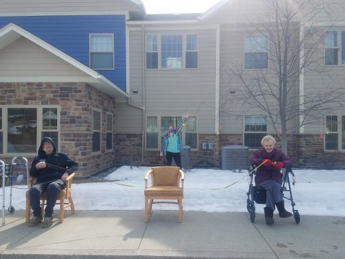 Pastor Becky came & sang outside for residents. Thank you Becky!