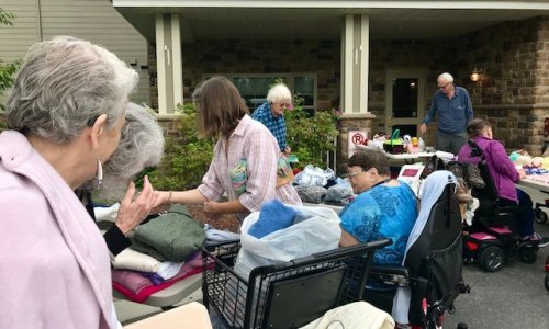 Busy day at the Community Rummage sale.