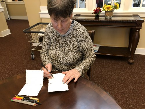 Writing letters is coming back. Kathy writes a few letters to family.