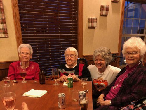 (Residents) Elinor, Pat and Delores. Along with Jennifer (Sales) enjoying Juliet Dinner Night