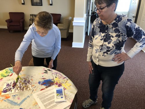 Art Projects painting with Plants? Well Kathy and Shirley give it a try.