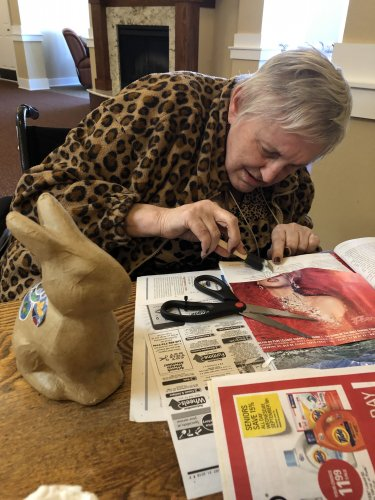 Lori is working hard to find pictures to add to her rabbit statue. It should be ready for Easter.