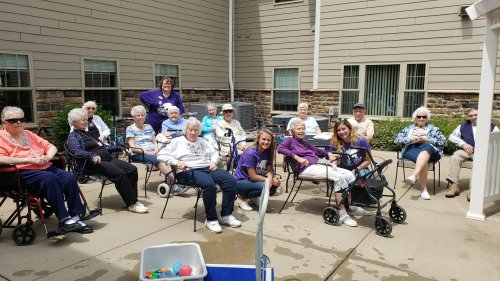 Residents enjoyed watching the Team in Wausau throw Water Balloons at Deb, Executive Asst.  Fun time had by all except Deb.