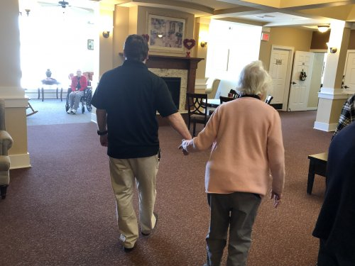 Geoff always finds time to spend with our residents. He took a walk with Dorothy today.