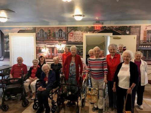 Residents and Staff Wore Red, White and Blue for Memorial Day 2018.
