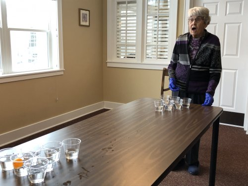 Water Pong has become the new game. Its not only 6 feet apart, but a clean fun way to keep our positive spirits going. Judy is lucky and gets it in.