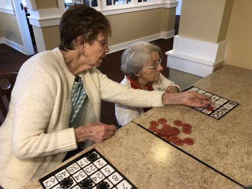 Residents, like Shirley, help others with bingo. Its about being a good friend when you need it.