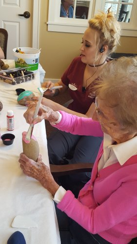 Rock painting is becoming popular between residents and staff.
