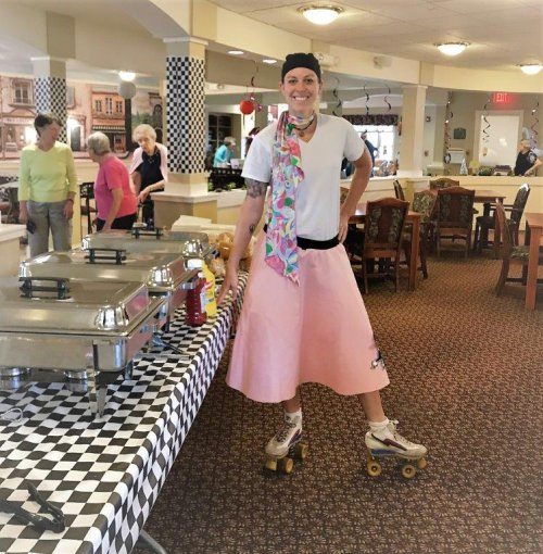 Primrose Dietary Director Kelli Put on Her Poodle Skirt and Roller Skates for the Event!