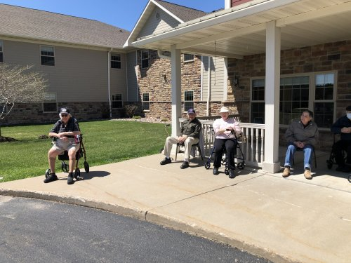George, Howie, Harriet, DuWayne, Delores and Dave waiting for the antique car parade.
