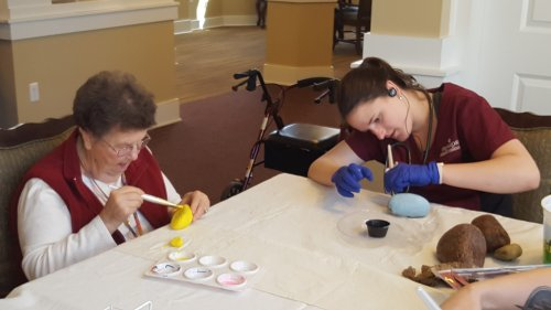 Rock painting with staff.