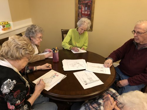 Adult Creative Coloring is very popular with our residents here. It truly is relaxing to create our own pictures.