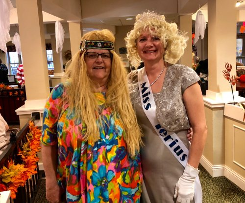 Jennifer and Sara dressed up and ready to enjoy our Halloween Party