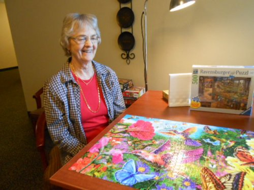 Barb is so proud of this beautiful puzzle she put together!