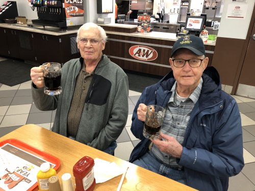 Tom & Jim enjoying an ice cold root beer at A&W Root Beer
