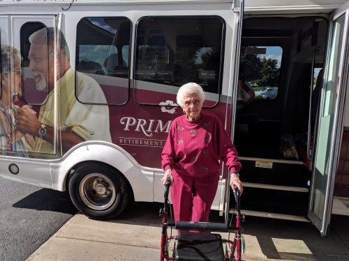 Janice 102 Years old today and still made her trip to Wal-Mart on the Primrose Bus!