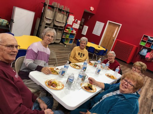 The Grandfriends having Thanksgiving Lunch at the Little Barnyard Preschool.