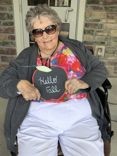 Marilyn is getting ready for fall with a sign for her door she made today.