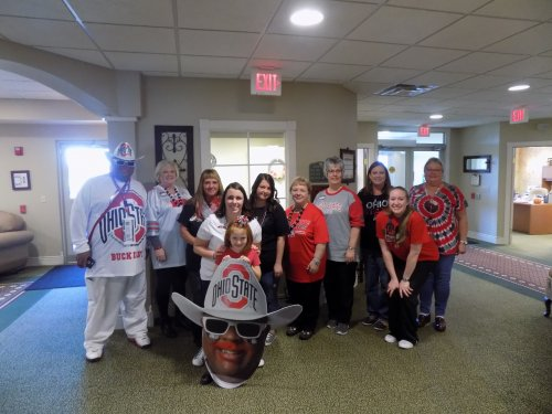 Primrose Staff and the Buck I Guy celebrating before the big Ohio State vs. Michigan game!