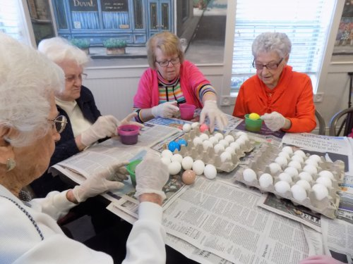 Residents Coloring Easter Eggs!