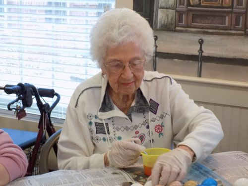 Janice 101 years old and still loves to color Easter eggs!