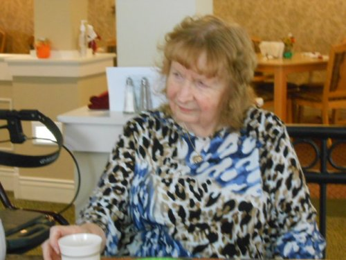 Jean thinks tea tyme is a great time to visit with other residents.