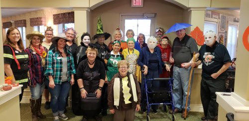 Primrose residents and staff dressed for Halloween!