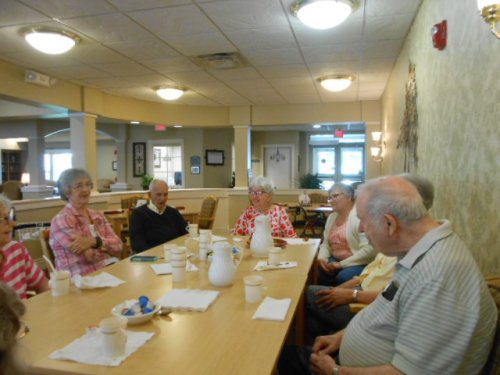Residents attending our Newspaper and Coffee Chat.