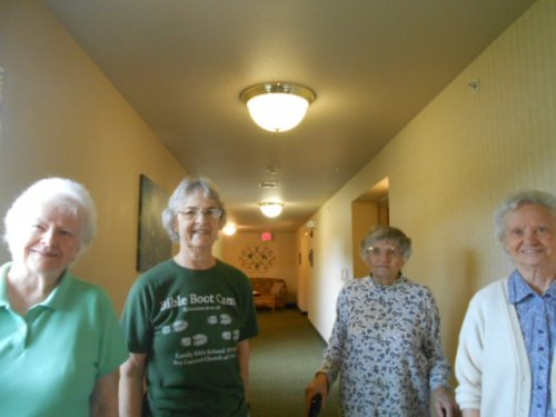 Members of our walking club are Helene, Barbara, Mildred and Alice.